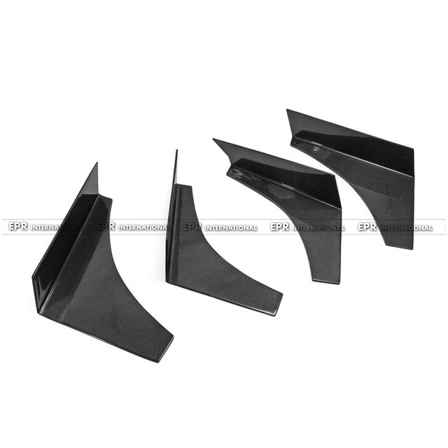 For Carbon Fiber VTX Style Universal Canard 4pcs Large Type 2 (Fit EVO 7 8 9) Glossy Fibre Bumper Accessories Car-Styling