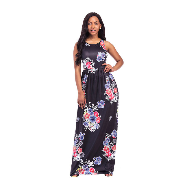 cc8c93b60 Nuevo vestido de noche o cuello vestido de impresión elegante vestidos  largos casual Beach Club partido