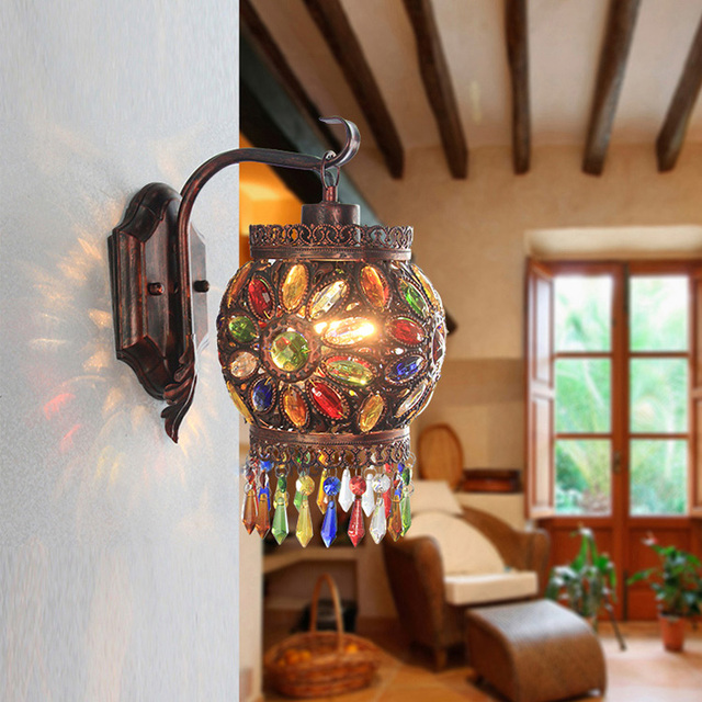 Bohemian Color Crystal Wall Lamp Southeast Asia Bedroom Retro Bedside Lamp  Diffuse Coffee Shop Living Room