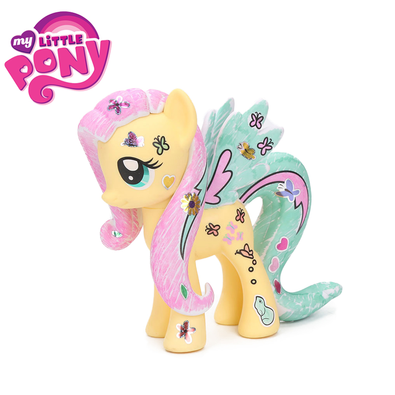 15cm My Little Pony Toys Design A Pony Kit Princess Cadance Fluttershy PVC Action Figure Decorate With Markers & Stickers Dolls