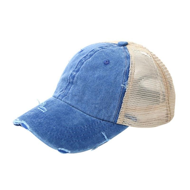 1 Pcs Hot Sale 2019 Newest Ponytail Cap Women Men Cotton Adjustable Sunshade Mesh Sun Tennis Hat Sportswear Accessory