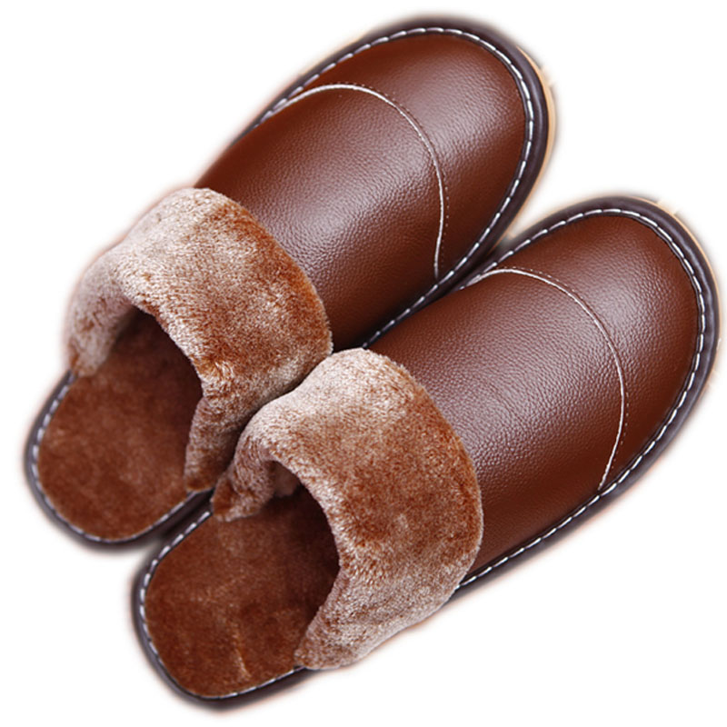 2017 Winter Leather Slipper Men Indoor Slippers Luxury Basic Ug Home Shoes Flat Warm Mannen Waterproof