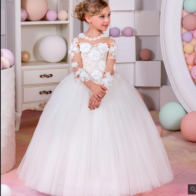 f18874d2bb7e3 US $87.28 |girls clothes 10 12 year pageant dresses for girls 11 years girl  ball gowns for children full white lace top grade wedding dress-in Dresses  ...