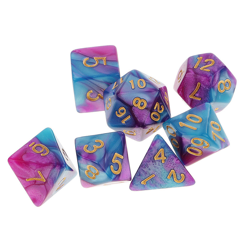 High Quality 7Pcs Purple Blue Pack Polyhedral Dice For DND TRPG MTG Party Board Games Toy Dice Set Gold Numbers