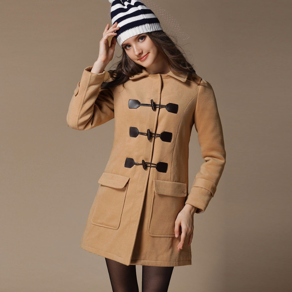 College Style Horn Button Woolen Winter Coat Women New Casual ...