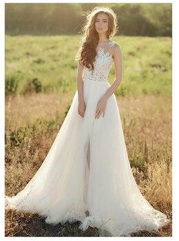 SoDigne Wedding Dresses Lace Applique Side Split Illusion Beach dress Bridal Gowns vestidos de novia