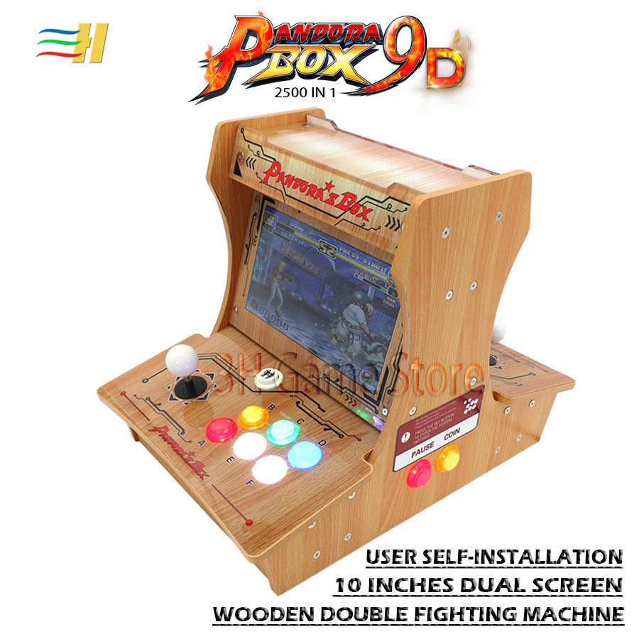 Wooden Pandora Box 9D 2500 In 1 Have 3d Game Mini Arcade Bartop Diy User Self-installation 10 Inch Dual Screen Have 3P 4P Game
