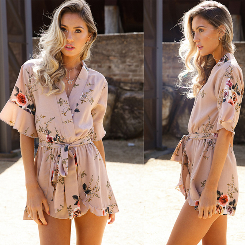 Printed Ruffled Lace V-Neck Jumpsuit Summer Short Mid-Rise Breathable Ladies Beach Playsuits Chiffon Fashion Vintage Rompers New