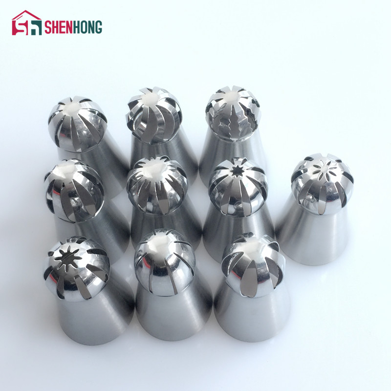 10 STÜCKE Russische Kugel Ball Piping Tipps Edelstahl-zuckerglasur-friedliche Düse Gebäck Cupcake Backen Form Creme T
