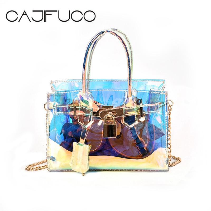 CAJIFUCO Chic Rainbow Handbags Girls Clear PVC Shoulder Bag Laser Transparent Cross body Chain Bags Mini Jelly Tote Sac De Plage