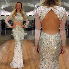 Doragrace Gorgeous Two-Piece Backless Prom Gowns Long Sleeve Mermaid Evening Dresses
