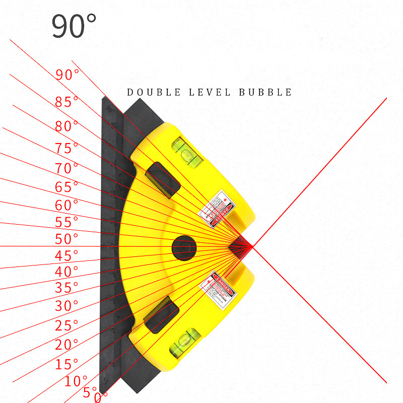 Laser Line Projection Square Level Right Angle 90 Degree Measure Tool, Ceramic Tile Earth Wire Meter,Right Angle Infrared Level