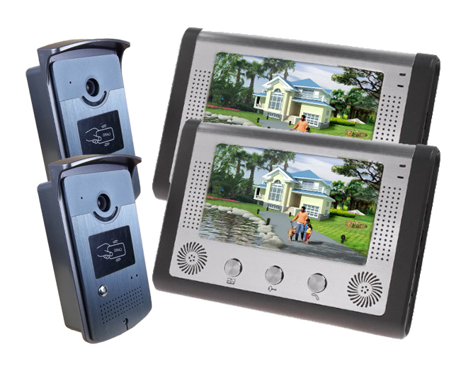SmartYIBA Video Intercom 7''Inch Monitor Wired Video Doorbell Door Phone Intercom System RFID Access Control Doorbell Camera KIT 7 inch password id card video door phone home access control system wired video intercome door bell
