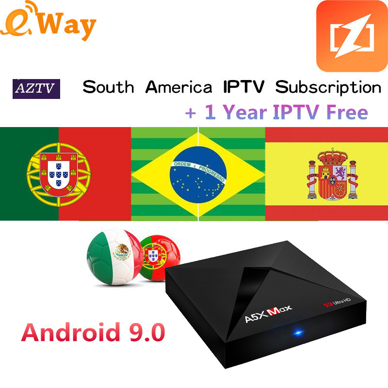 Intellective Android 9.0 Tv Box 4g/32g A5x Max Spain Iptv Box Support 2000+ Channels Arabic Brazil Latin America Peru Argentina Chile Mexico