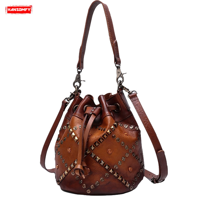 Tasche Luxus Handtasche Taschen Messenger Retro 1 Neue Eimer Hand Niet Strap Leder Schulter Hansomfy Mode Frauen 3 2 Casual Weibliche nqtF0xBPw