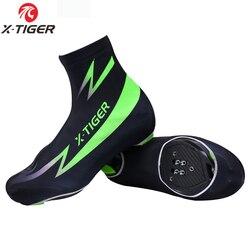 X-TIGER Modesti Bright Green Cycling Shoe Cover Mountain Bike Shoe Covers Cycling Zippered Bicycle Overshoes Sportwear