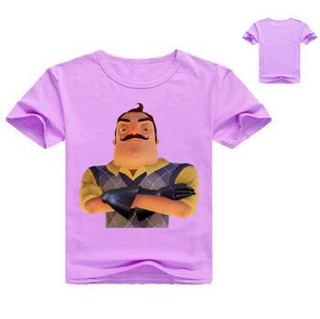 2018 Tops de verano para niño Hello Neighbor, de Color puro con cuello redondo Camiseta de algodón, camisetas de moda para niños, nuevos Vestidos
