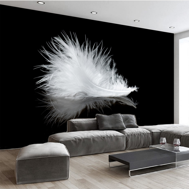 Custom Mural Modern Simple Black And White Feather 3D Wallpaper Study Living Room Sofa