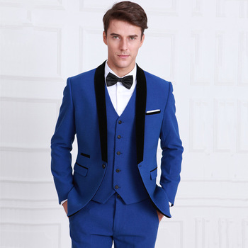 Classic Style One Button Royal Blue Groom Tuxedos Groomsmen Men's Wedding Prom Suits Bridegroom (Jacket+Pants+Vest+Tie) K:946