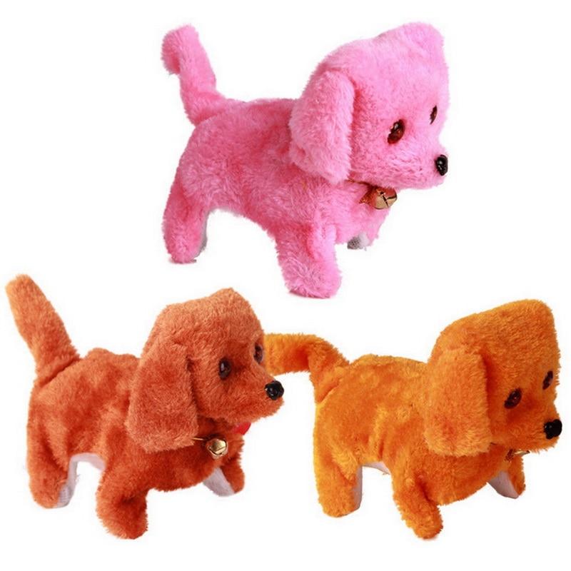 Popular Childrens Electric Plush Toys Dog Cute Electric Flat-Coat Dog Toy Dog Electronic Advance Backwards Dog 4 Colors