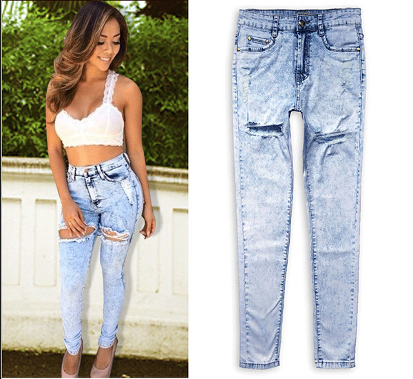 Hot sexy ripped jeans high waisted washed holes tassels skinny full length pencil pants trousers for women womans plus size sexy diamond sequined scratched pencil pants washed low waisted full length denim women jeans trousers womans plus size