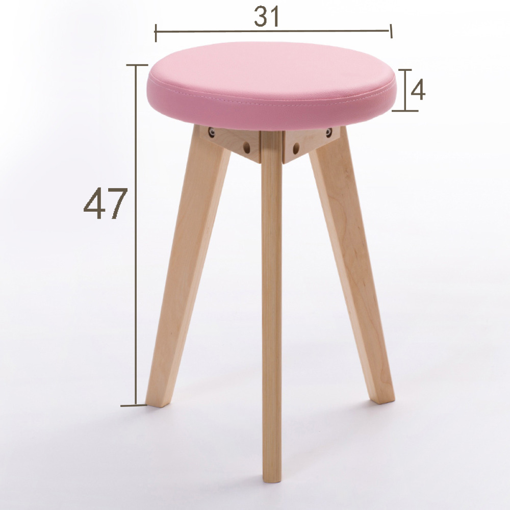 Wholesale 30*47cm Soft PU Stool Living Room Dining stools Hotel Cafe Bar wooden stool wooden round high bar stools home bar chairs coffee mobile phone stool bar stools