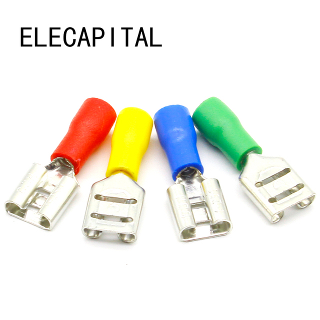 FDD1 250 Female Insulated Electrical Crimp Terminal for 22 16 AWG ...