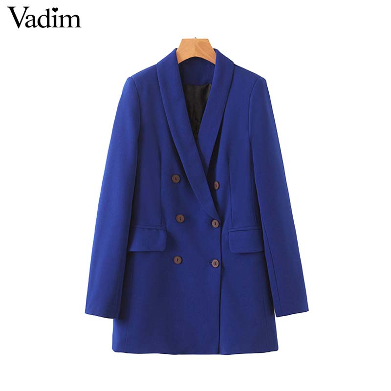 Vadim Blue Blazer Coat Long-Sleeve Female Formal Double-Breasted Stylish Pockets Outwear