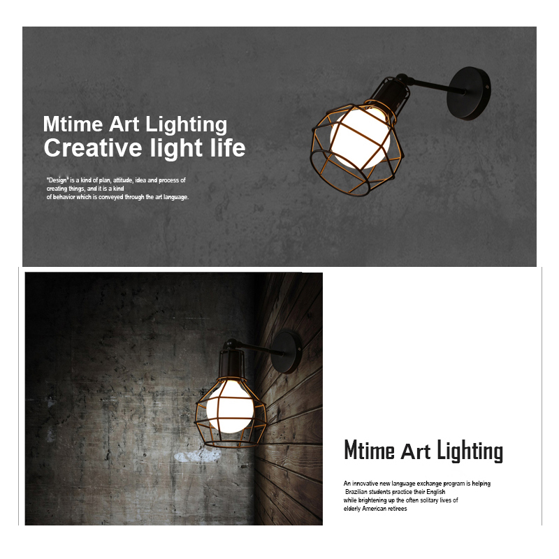 Vintage American E27 LED Cage Wall Lamp Black Iron Wall Lights Bedroom Bar Counter Sconce Retro Indoor Reading Multi-site Lamp