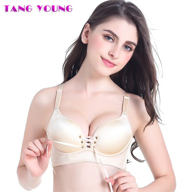 e8639f46cbc91 Push Up Bras For Women Adjustable Cleavage Bra Sexy Deep V Neck Bra Wire  Free Seamless Bralette 2018 new 75A 80A 85A TANG YOUNG