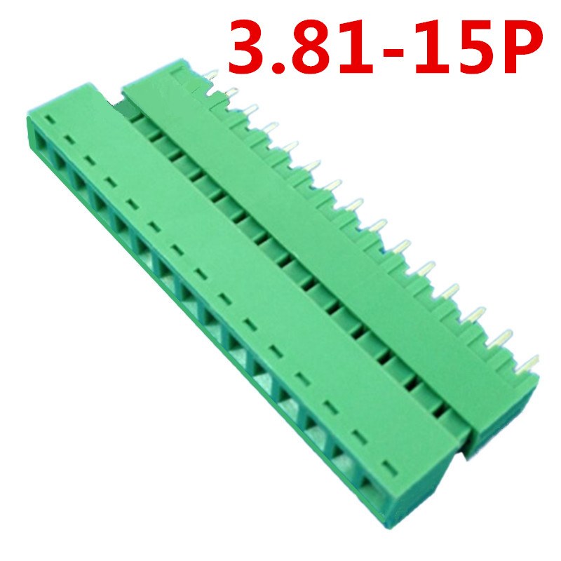 10sets 15 Pin 3.81MM Pitch 300V Universal Straight Pin Pluggable Type Green Screw Terminal Block Connector Pin header and socket