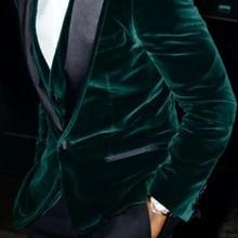 Green Velvet Evening Party Men Suits 2018 Black Peaked Lapel One Button Blazer Three Piece Groom Wedding Tuxedos