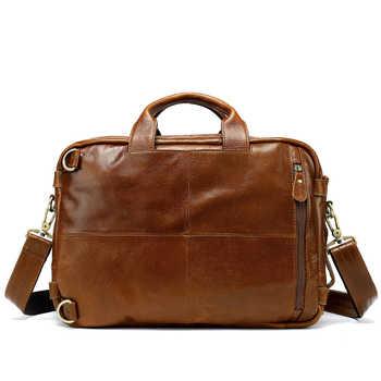 WESTAL Multifunction Leather Laptop Bags Genuine Leather Men Bag Shoulder Messenger Bag Men Crossbody Bags Leather Handbags 341