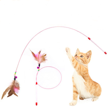 Funny Feather Kitten Cat Pet Toy Steel Wire Teaser Bell Bead Play Wand Teasing Sticks Interactive