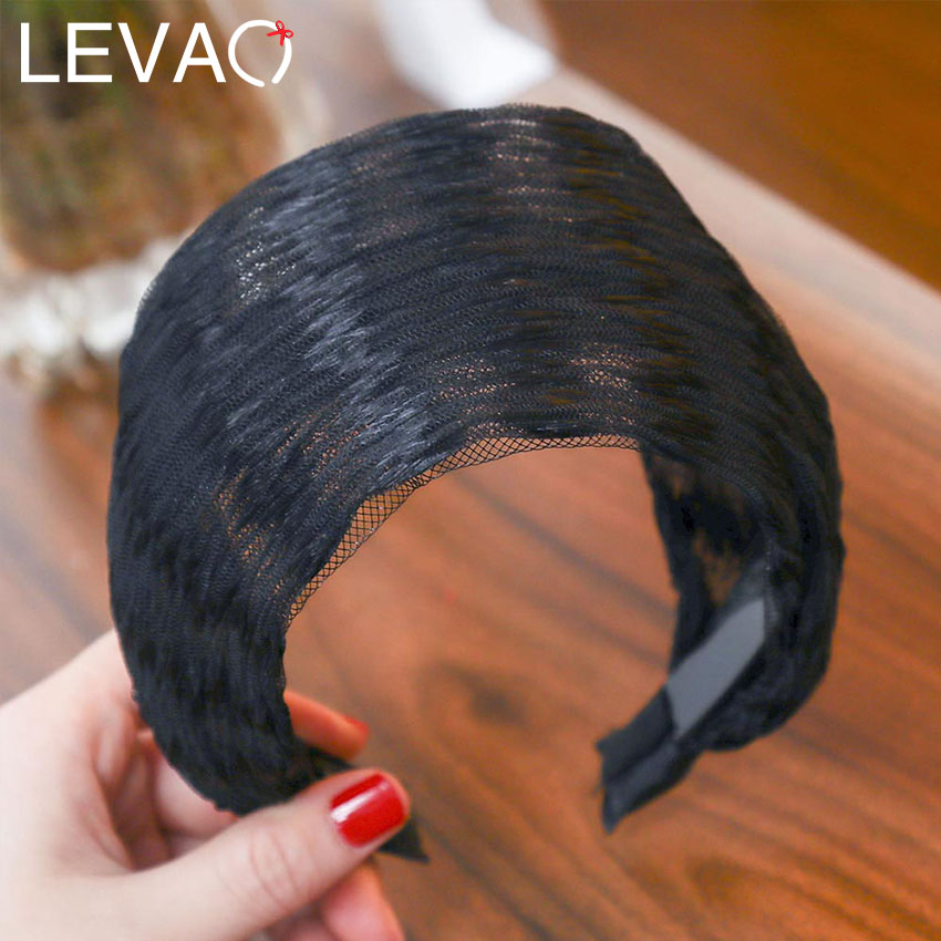 Levao 2019 New Fashion Women Elastic Stretch Wide Lace Hairbands Headband Lady Head Wrap Turban Hair Hoop Hair Accessories