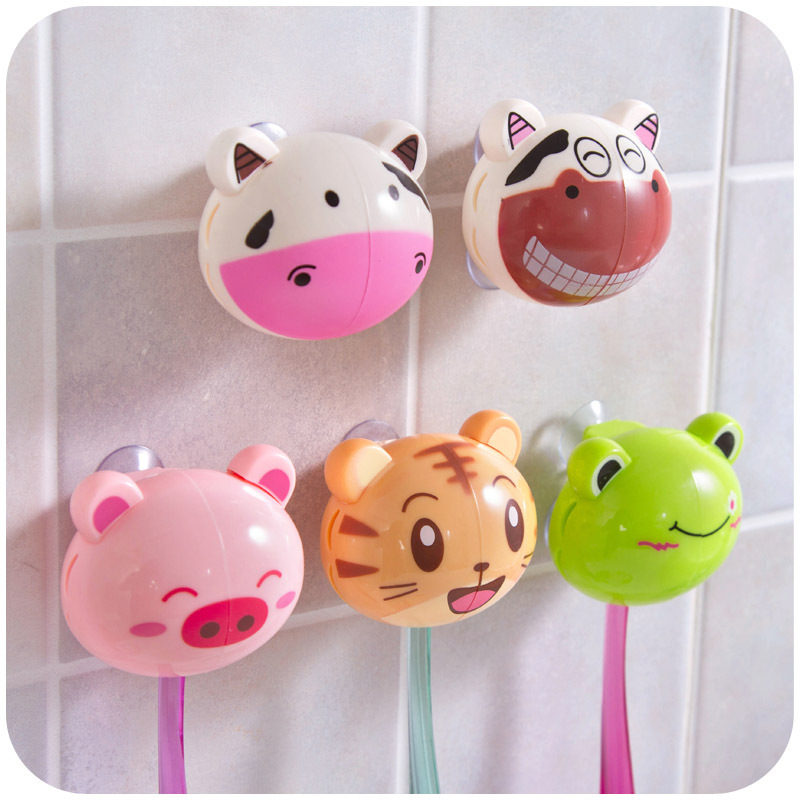 5pcs Bathroom Sets Cute Cartoon Wall Sucker Travel Toothbrush Holder With Suction Hooks Toothbrush Head Cover Elegant And Graceful