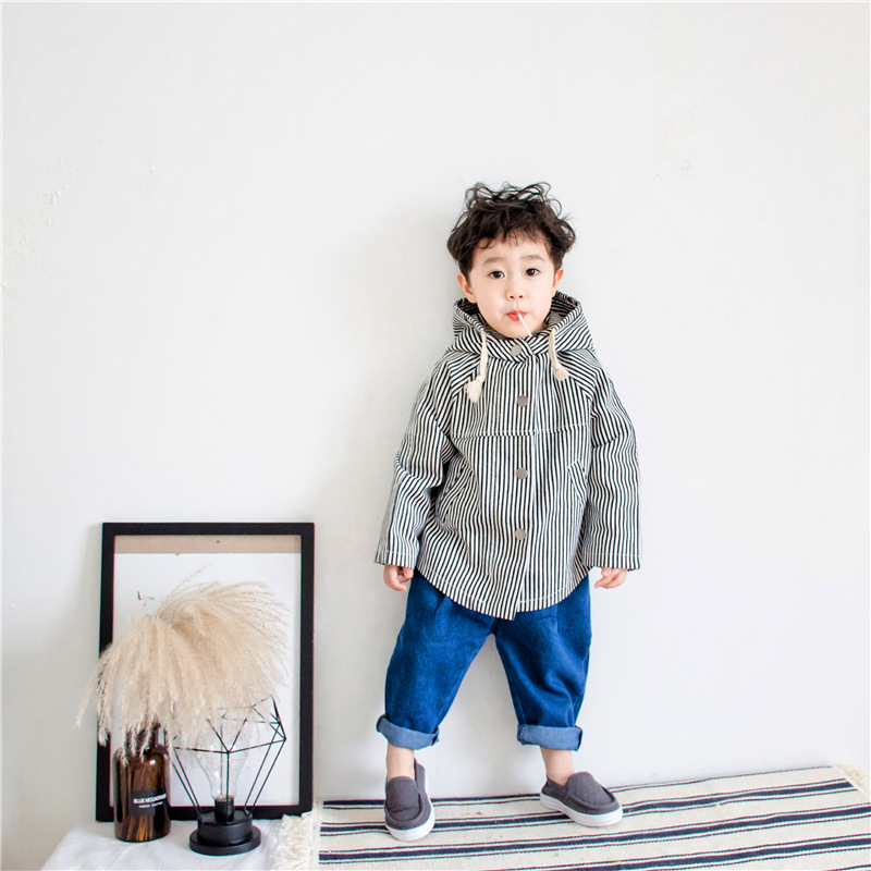 Boy trench 2018 spring fall childrens jacket trend boy windbreaker jacket vertical stripes trench coat newborn toddler clothes