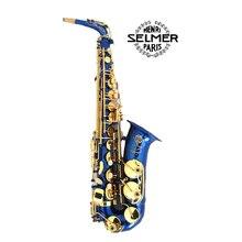 (SELMER) Eb Altsaxophon Ton Altsaxophon Blau Gold Schlüssel F # Ton Goldlack Saxofone Sax Musikinstrumente