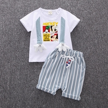 2019 Hot Sale Brand Boys Clothings Children Summer Babys Clothes Cartoon Kids Boy Girl Toddler Clothing Sets T-shit+Pants Cotton