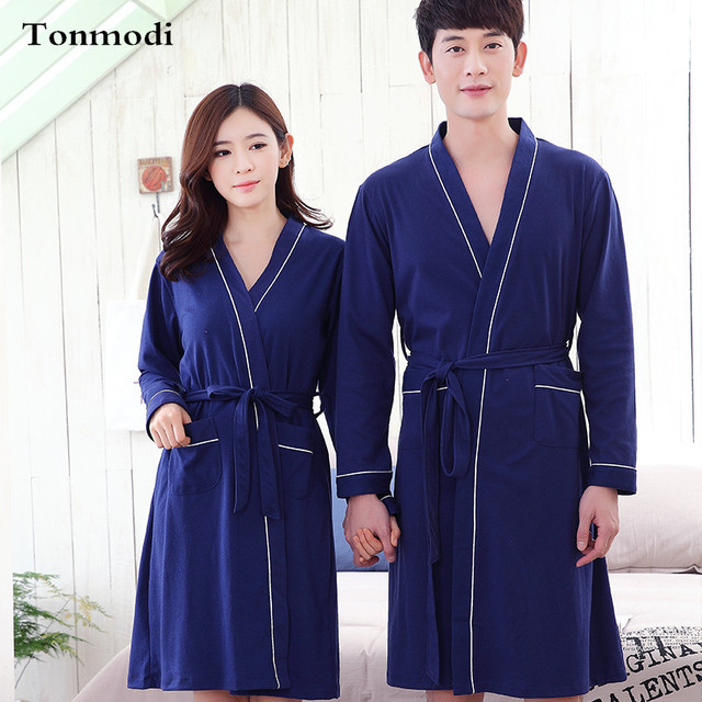 0ca783fbdd Nightgown For Men Autumn Women s Robe long design knitted cotton bathrobes  Lovers Thin loose sleepwear plus