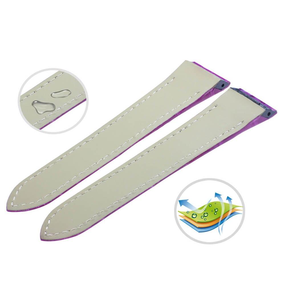 ZLIMSN bracelet en cuir de Crocodile de luxe de haute qualité rouge confortable imperméable à l'eau Fine artisanat couture 12mm-26mm pour hommes femmes - 2