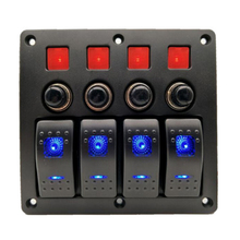 цена на 4 Gang Boat Ignition Switch Panel for 12/24V Vehicles Boats Yacht Cruises Speedboat Cockpit Bus Rvs Jeep SUV
