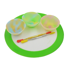 3pcs Slick oil Silicone butane concentrate Pinch Bowl Dab wax container jar+2pc Bho Dabber Carving tool+Silicone Baking Mat