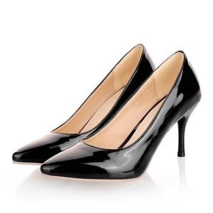 Image 2 - ALLBITEFO plus size:33 44 pu leather pointed toe women high heel shoes fashion high heels office ladies spring women shoes