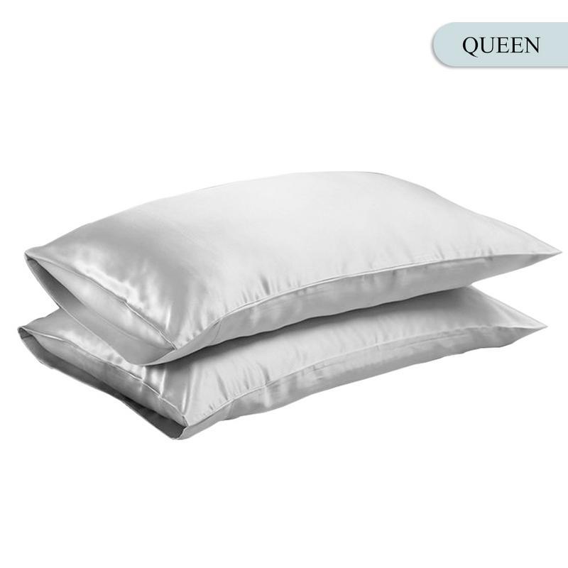 Queen/KING Silk Satin Pillow Case Bedding Pillowcase Smooth Home White Black Grey Khaki Sky Blue Pink Sliver 13