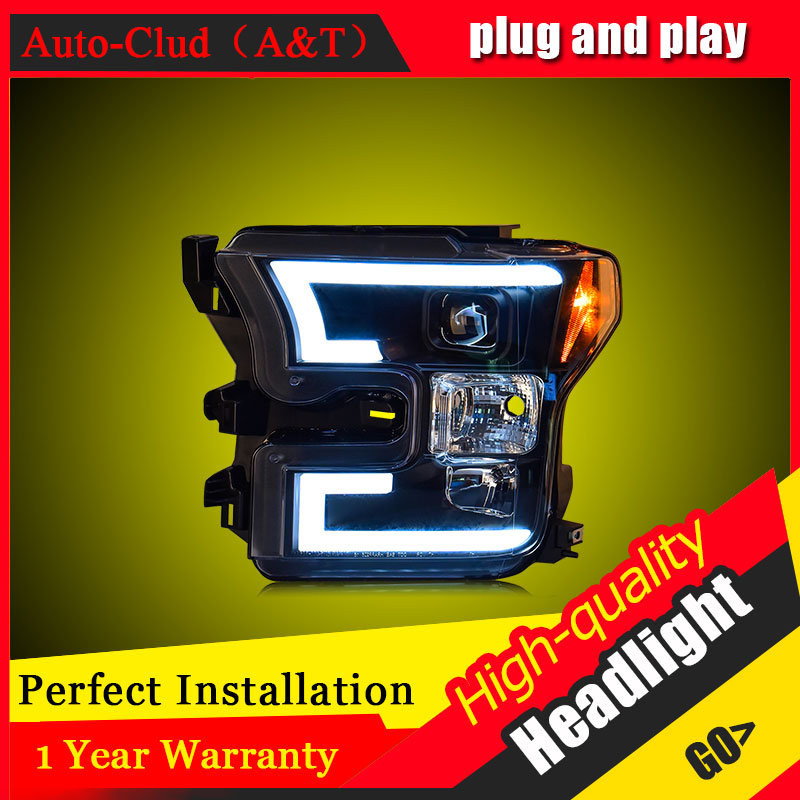 Auto Clud Car Styling For Ford raptor F150 headlights For raptor head lamp led DRL front Bi-Xenon Lens Double Beam HID KIT
