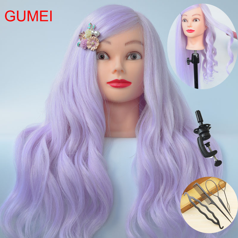 New Style 85% Real Purple Hair Training Mannequin Head For Hairdressers 60CM Mannequin Head With Hair Professional Styling Head image