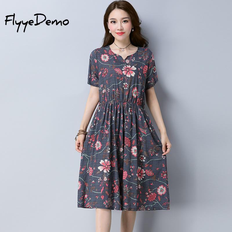 Women Summer Dress 2018 Fashion Short Sleeve Elastic Waist