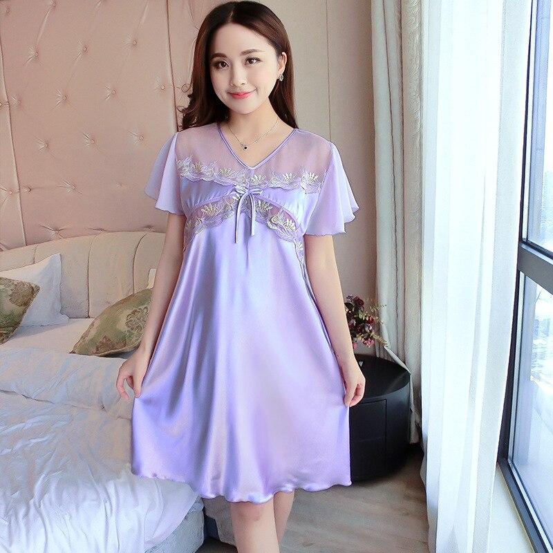 Silk Dressing Gowns Ladies: Women Nightgowns 2017 New Faux Silk Ladies Summer Sexy