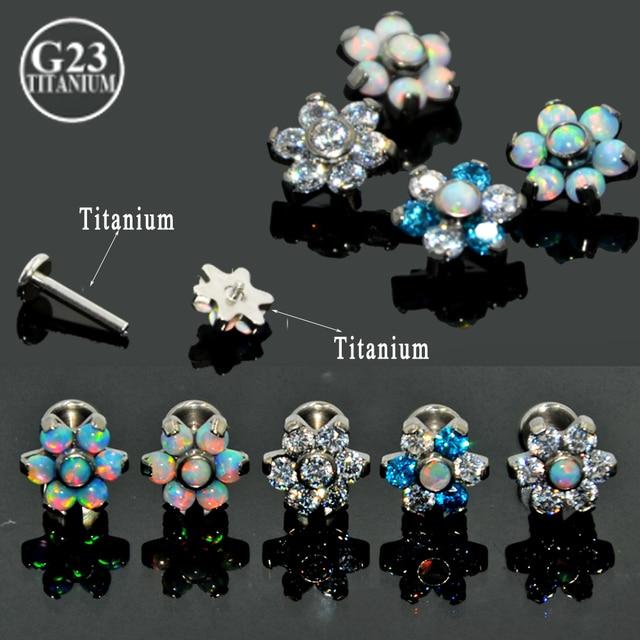 BOG 10 Piece G23 Titanium Opal Gem Labret Lip Bar Ring Opal&Zircon Flower Ear Cartilage Tragus Helix Piercing Screw Fit Top 16g